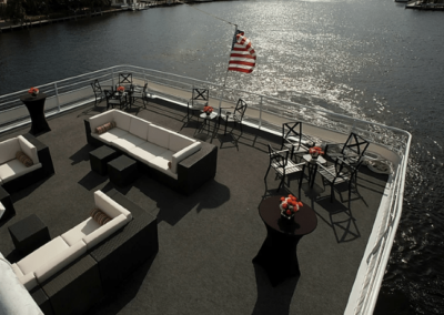 130 Chesapeake party yacht main deck lounge