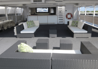 130 Chesapeake party yacht upper deck lounge and open bar