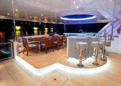 133 IAG yacht aft deck bar and casual dining