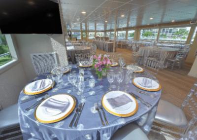 120K Marine party yacht dining table arrangement
