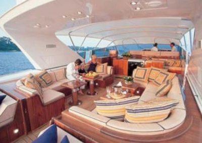 80 Mangusta rental yacht at anchor