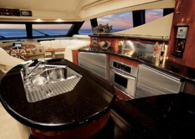 60 Marquis yacht dining and galley
