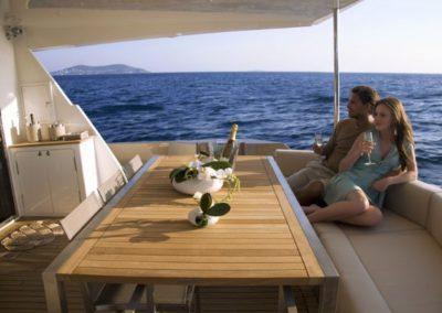 78 Numarine yacht charter aft dining