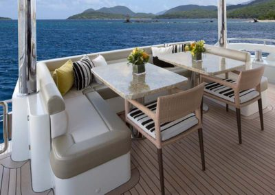 112 Ocean yacht flybridge coffe tables