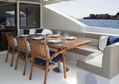 112 Ocean yacht aft deck dining