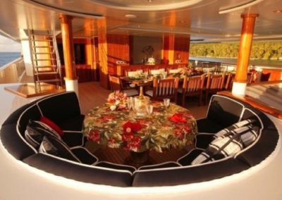 228 Oceanfast yacht deck formal dining and lounge