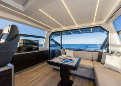 62 Pershing yacht TV and dinette