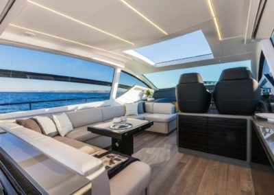 62 Pershing yacht dinette and helm
