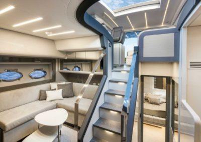 62 Pershing yacht lower deck salon