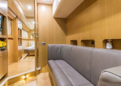 62 Power Catamaran cabin with sofa