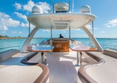 62 Power Catamaran flybridge seating