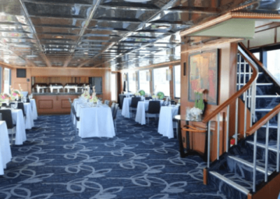 100 Skipperliner party yacht dining salon with open bar