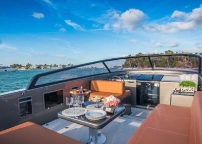 40 VanDutch yacht dining at anchor
