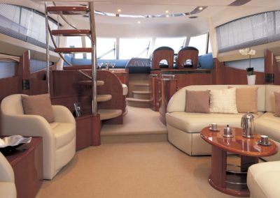 60 Viking yacht luxury salon and helm