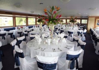 170 Swiftship party yacht custom event specific dining table arrangements