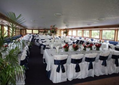170 Swiftship party yacht custom dining table arrangements