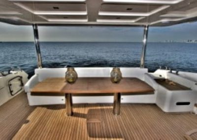 72 Absolute yacht aft deck dining