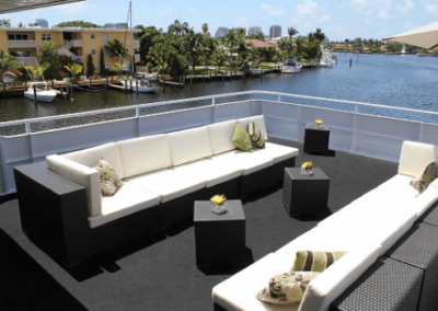 130 Custom party yacht upper deck lounge