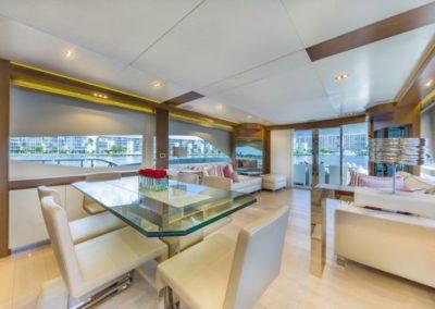 80 Dominator yacht dining