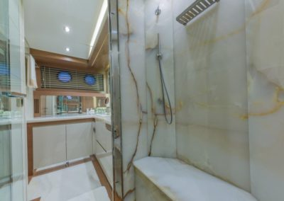 80 Dominator yacht master bathroom