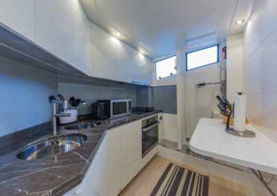 80 Dominator yacht galley