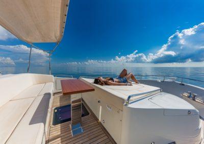 80 Dominator yacht bow sunpads