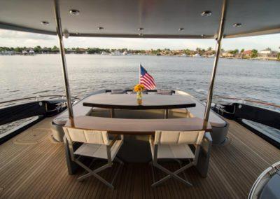 92 Lazzara yacht aft deck dining