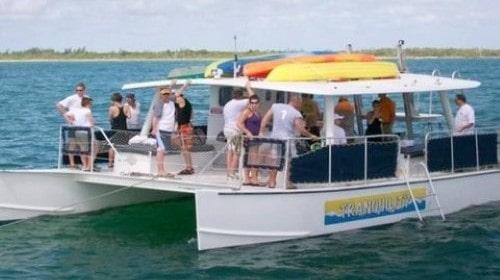 40 Power Catamaran at anchor