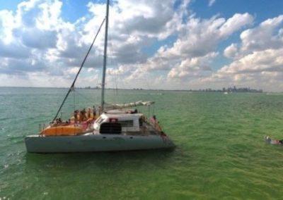 50 Sailing party Catamaran at anchor in Miami