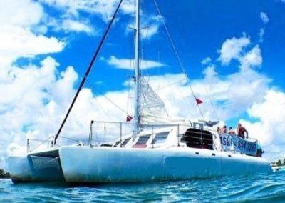 50 Sailing party Catamaran at anchor