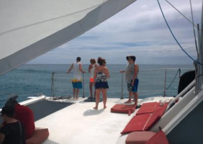 50 Sailing party Catamaran bow sundeck