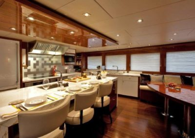 120 Trinity yacht galley dinette and coffe table