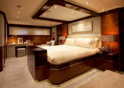 120 Trinity yacht master stateroom with night table
