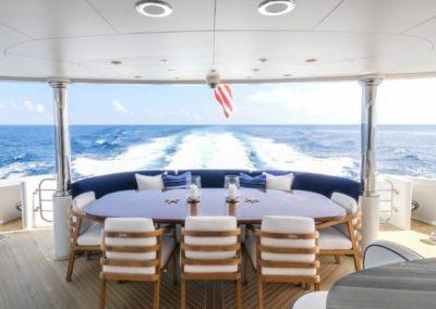 120 Trinity yacht aft deck dining